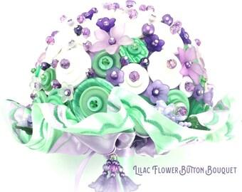 Bridal Button Bouquet Lilac Flowers