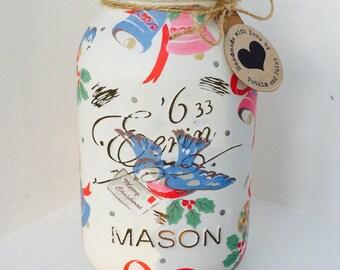 Handmade Cath Kidston Christmas Birds Mason Jar