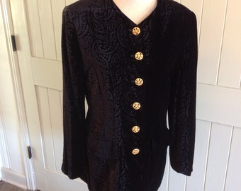 Liz Claiborne Black print on black Jacket with Gold Buttons