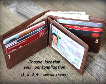 Father's Day - Mens Wallet - Father's Gift - Mens Personalized Wallet - Father Gift - Mens Leather Wallets Dad - Mens Wallet - Toffee - 7745