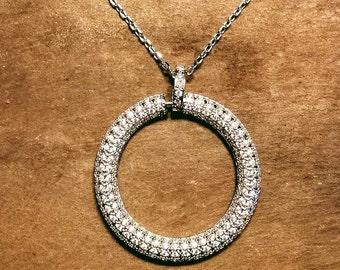 Large round pendant necklace, cubic zirconia wedding necklace, jewellery, bridal necklace, circular pendant necklace, traditional jewellery