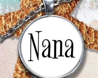 Nana Necklace Gifts - Best Mother's Day Gift for Mom - Round Pendant Necklace - 22 in Chain - Mothers Day Jewelry Gift for Wife - Best Nana