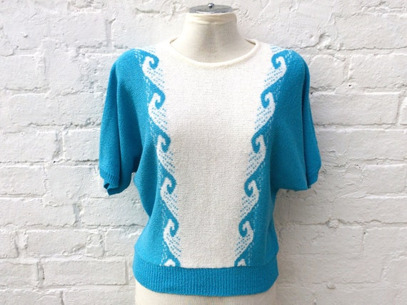 Vintage knit top, surfing waves sweater, retro 80s fashion