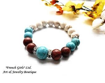 Howlite Turquoise Sandstone Gemstone Beaded Healing Stone Crystal White Brown Blue Bead Genuine Stretch Bracelet Yoga Meditation Zen Jewelry