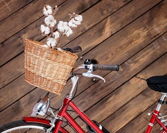 Natural wicker basket, handmade bicycle basket, wicker basket, bike basket, bicycle basket, vintage basket, grocery basket, basket for bike