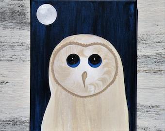 Little Barn Owl Blue Eyes Moonlit Sky Original Acrylic Painting 8x10 Canvas