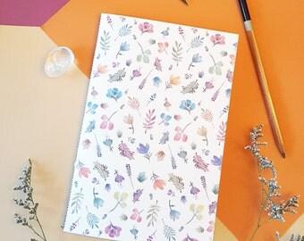 Floral Notebook, Sketchbook, Journal, Illustration, Flowers, Botanical Illustration, Blank Notebook