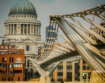 London Fine Print: Millennium bridge and St. Paul's Cathedral