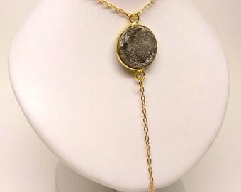 Elegant Necklace using druzy stone and blck onyx.
