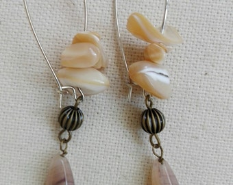 Long earrings of Pearl and Czech glass
