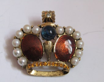 Enamel Crown Brooch