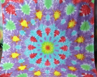 Beautiful Handmade Tie Dye Festival Mandala Tapestry Wall Hanging Up-cycled Sheet