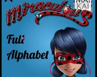 Miraculous digital alphabet, Ladybug clipart, ladybug letters, ladybug invitation, miraculous birthday, digital font. instant download