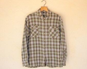 Khaki Double Chest Pocket Checked Flannel Shirt - size Medium