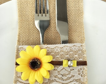 burlap silverware holder with silverware cutlery holder with sunflower
