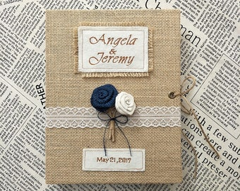 Rustic Wedding Guest Book,Burlap Wedding Guest Book with Navy Blue Rose and Brown Rose,Custom Guest Book for Rustic Wedding.