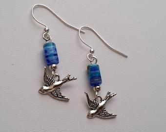 Blue Millefiori Bead with Bird Earrings  (E14-136)