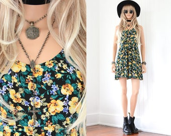 90s Floral Dress 90s Grunge Dress Floral Mini Dress 90s Dress Black Floral Dress Vintage 90s Clothing Black Floral Vintage Floral Dress XS