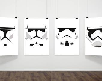 Star Wars Inspired Poster Print   4 Set Digital Download   Storm Trooper   Clone Helmets   Wall Art   Videogame Art   Minimalist
