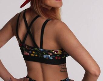 Women's Sports Bra - X-women / Folk White or Black / Top w/Pads / Hot Yoga / Pole Dance / Twerk / Fitness / Dance / Sportswear / Activewear