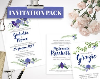"PRINTABLE Wedding Kit ""Blue Iris"""