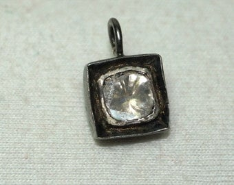 Royal Victorian Style 0.12ctw Rose Cut Antique Cut Uncut Polki Diamond Sterling 925 Silver Valentine day Pendent