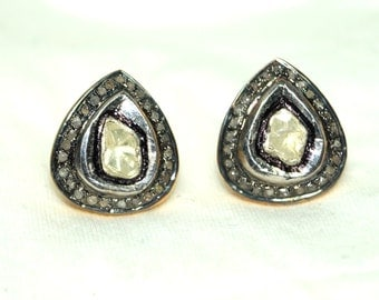 Royal Victorian Style 1.30 Rose Cut Antique Cut Uncut Polki Diamond 925 Sterling Silver Valentine Earrings/Charm Studs