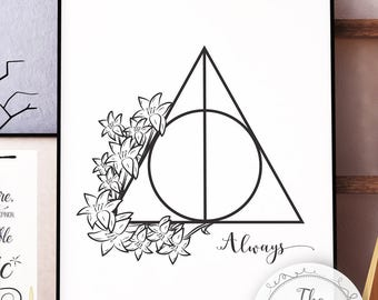 "Deathly Hallows with Lilies. Snape quote ""Always"". Harry Potter (Digital Download for Print)"