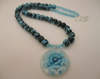 """20"""" Necklace Glass Flower Blue, Mothers Day"""