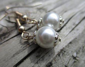 Drop Earrings, White Elegant Earrings