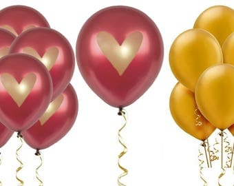 """Burgundy Gold Heart Balloons Love 12"""" Latex Wedding Proposal Renewal Bridal Shower Party Bachelorette Anniversary Party Maroon Dark Red"""