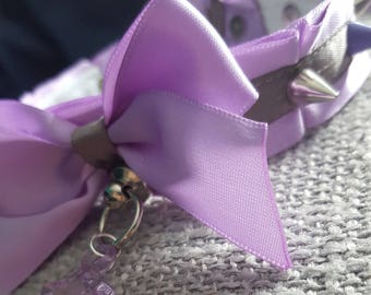 Purple and Grey Studded Tugproof Collar Petplay Kittenplay