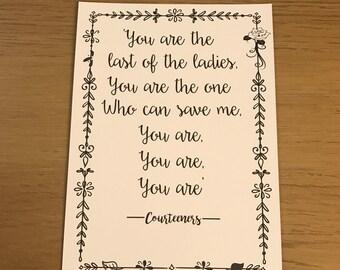 Courteeners - Last Of The Ladies Lyrics Print