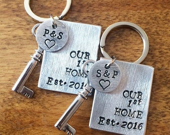 First home Keychains set, new house, personalized keychains with initials and keycharm