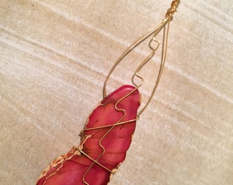 Pink Agate Wire Wrapped Pendant