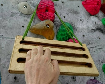 Hangboard on the go, a perfectly sized travel training board for warmup for bouldering, rock climbing or fitness