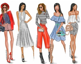 Group of 7 Custom Fashion Illustration