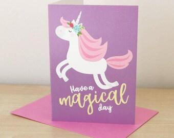 Unicorn birthday / Unicorn card / Girls birthday card / Cute birthday card / Kids birthday card / Daughter card / Birthday card friend