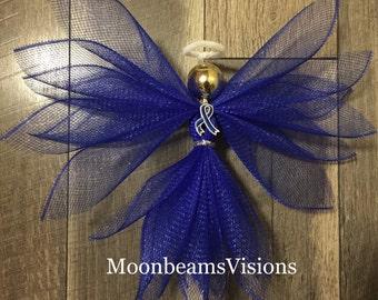 Colon cancer awareness angel, colon cancer, deco mesh angel, cancer awareness angel, memorial gift, remembrance gift