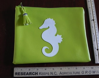 Lime green with white seahorse bag