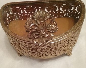 VIintage Demi-Lune Gold Filigree Box
