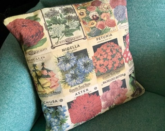50cm Vintage Flower Seed Packet Cushion