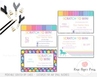 Scratch Off Cards - Herringbone, Polka Dots, Unicorn Stripes, Jeweled Geometric | Custom Printable Card | Marketing Materials