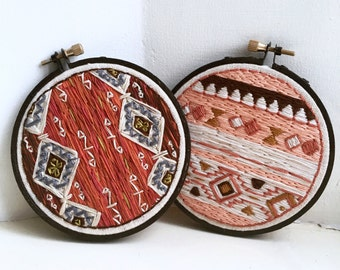 SALE!!!! TWO TOGETHER | Kilim Inspired Contemporary Embroidery Pieces