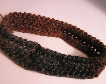 Hand Knit Headband in Browns, Earth Tones & a Hint of Turquoise.