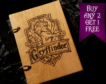 Gryffindor wooden notebook / Harry Potter notebook / sketchbook / diary / Harry Potter journal / travelbook / Harry Potter gift