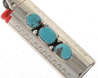 Silver Navajo Lighter Case Cover Bisbee II Turquoise Nuggets