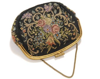 PETIT POINT TAPESTRY · Vintage Pocket · Black · floral embroidery · ornate jewelry hanger