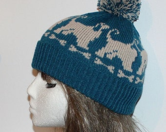 Petrol Blue or White with Afghan Dog Beanie Hat with or without Pompom