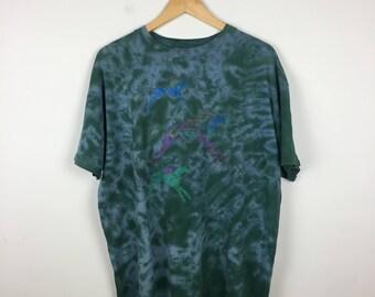 Vintage Tie Dye T Shirt Size XL, Green Tie Dye T Shirt